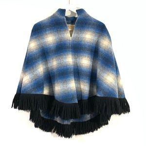 VTG Tregos Westwear Wool Plaid Fringe Cape Poncho